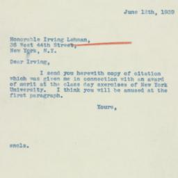 Letter: 1939 June 12