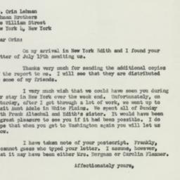 Letter : 1951 July 23