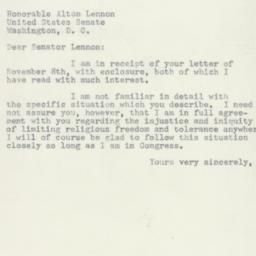 Telegram : 1954 November 16