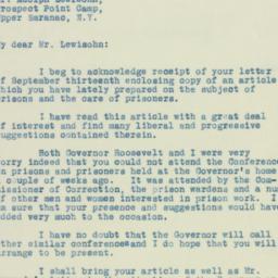 Letter: 1929 September 26