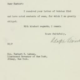 Letter : 1929 October 24