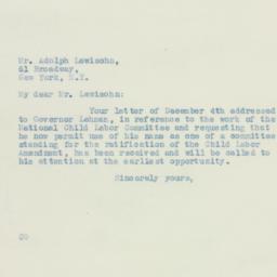Letter: 1933 December 8