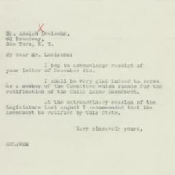 Letter: 1933 December 9
