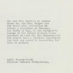 Letter : 1953 April 29