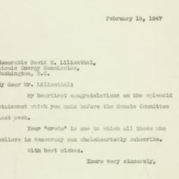 Telegram : 1947 February 15