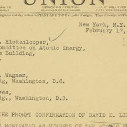 Telegram : 1947 February 17