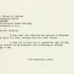 Telegram : 1952 April 22