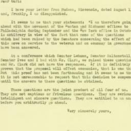 Letter : 1951 August 15