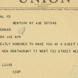 Telegram : 1946 August 28