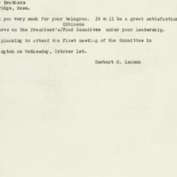 Telegram : 1947 September 26