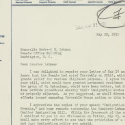 Telegram : 1952 May 28