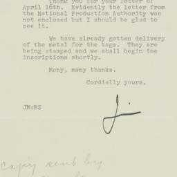 Letter : 1951 April 18