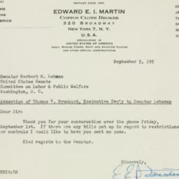 Letter : 1950 September 5