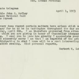 Telegram : 1953 April 1