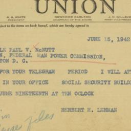 Telegram: 1942 June 15