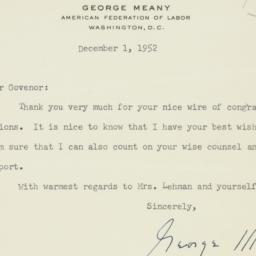 Letter : 1952 December 1
