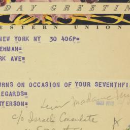 Telegram : 1953 March 30