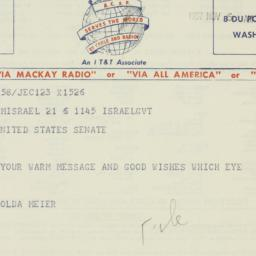 Telegram : 1957 November 6