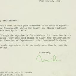 Letter : 1955 February 18
