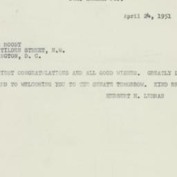 Telegram : 1951 April 24
