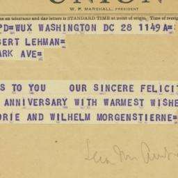 Telegram : 1953 March 28