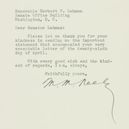 Letter: 1951 April 30