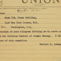 Telegram : 1946 March 25