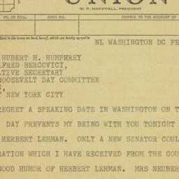 Telegram: 1956 February 2