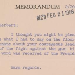 Memorandum: 1956 February 20