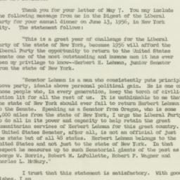 Letter: 1956 May 10