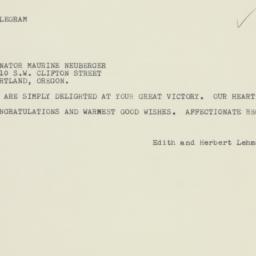 Telegram: 1960 November 9