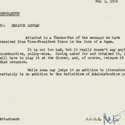 Memorandum : 1958 May 3