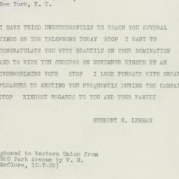 Telegram : 1932 October 7