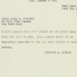 Telegram : 1950 July 15