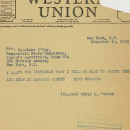 Telegram : 1939 December 12