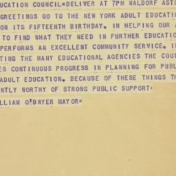 Telegram : 1948 December 1