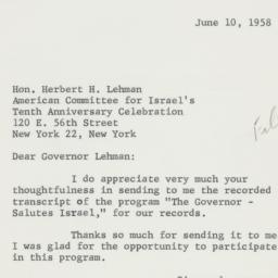 Letter : 1958 June 10
