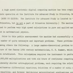 Press release : 1952 June 10