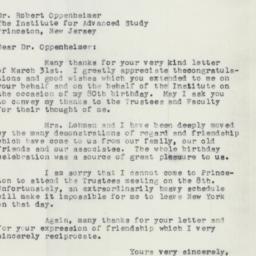 Letter : 1958 April 3