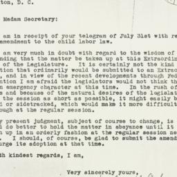 Letter: 1933 August 8