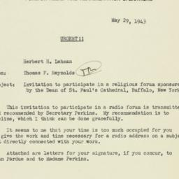Memorandum: 1942 May 29