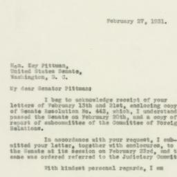 Letter : 1931 February 27
