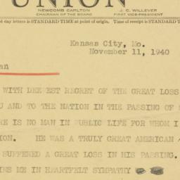 Telegram : 1940 November 11