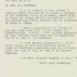 Letter : 1950 February 25