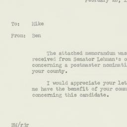 Memorandum: 1956 February 28