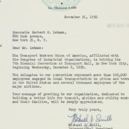 Letter : 1950 November 16