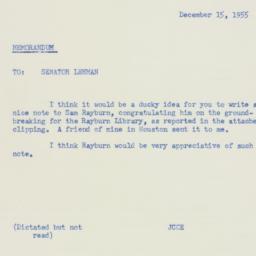 Memorandum : 1955 December 15