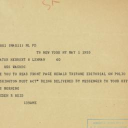 Telegram : 1955 May 1