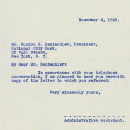 Letter : 1939 November 6