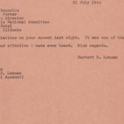 Telegram : 1944 July 21